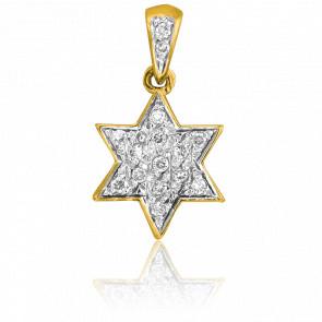 Pendentif David Etoile Or Jaune & Diamants