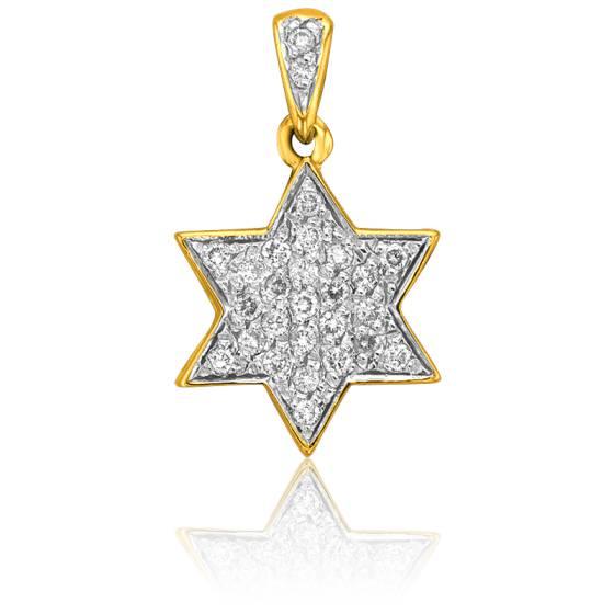 Pendentif Etoile David Or Jaune & Diamants