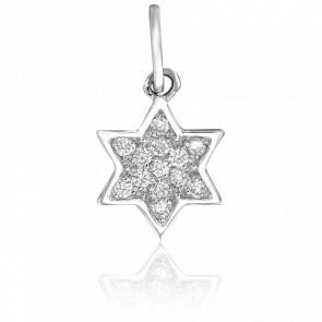Pendentif Etoile de David Diamants & Or Blanc 18K