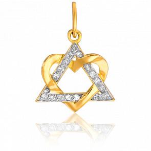 Pendentif Triangle Coeur Or Jaune & Diamants