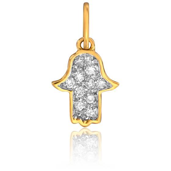 Pendentif Main de Fatma Or Jaune & Diamants