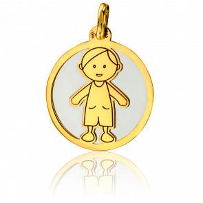 Médaille Petit Garçon Gris & Or Jaune 18K