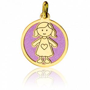 Médaille Petite Fille Rose & Or Jaune 18K