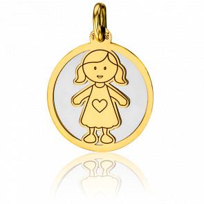 Médaille Petite Fille Gris & Or Jaune 18K