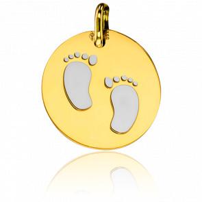 Médaille Petits Petons Acier Gris & Or Jaune 18K