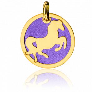 Médaille Cheval Violet & Or Jaune 18K
