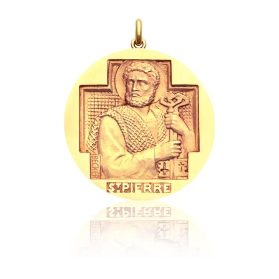 Médaille Saint Pierre Or Jaune 18K