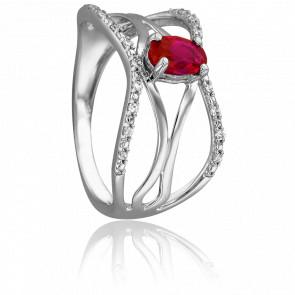 Bague Andréa Or Blanc & Diamants Rubis