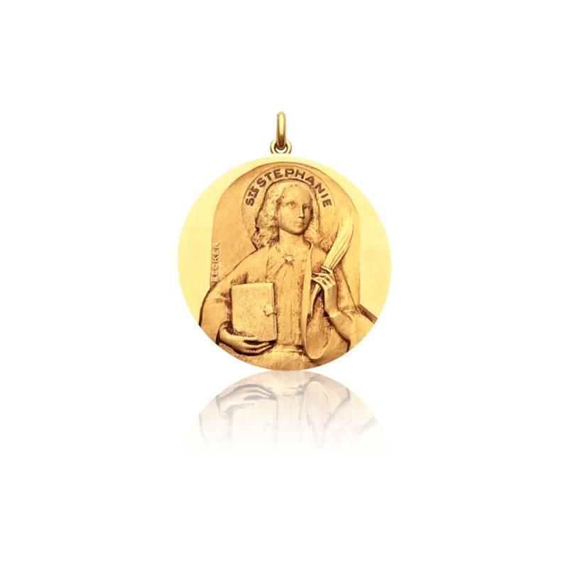 Médaille Sainte Stéphanie Or Jaune 18K