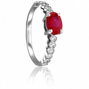 Bague Livia Or Blanc & Diamants Rubis