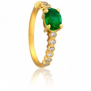 Bague Livia Or Jaune 18K, Emeraude & Diamants