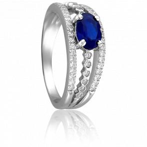 Bague Alix Or Blanc & Diamants Saphir