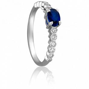 Bague Mélina Or Blanc & Diamants Saphir