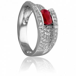 Bague Victoria Or Blanc & Diamants Rubis