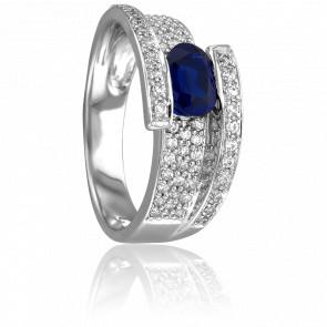 Bague Victoria Or Blanc & Diamants Saphir