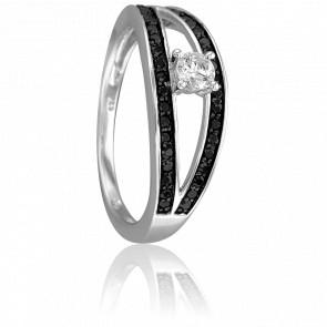 Bague Ambre Or Blanc & Diamants