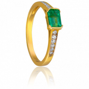 Bague Eléonore Or Jaune & Diamants Emeraude