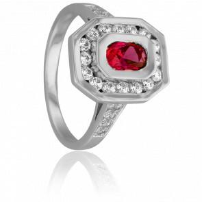Bague Marion Or Blanc & Diamants Rubis