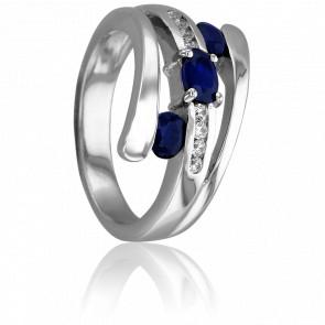 Bague Eléa Or Blanc 18k & Diamants Saphir
