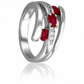 Bague Eléa Or Blanc & Diamants Rubis
