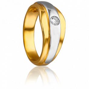 Bague 2 ors 18K, diamant 0,14 ct