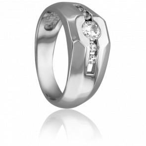 Bague or blanc 18K, diamants 0,33 ct