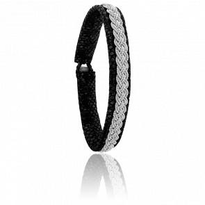 Bracelet Double 4 Reptile Noir