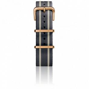 Bracelet Nylon Type Nato 20mm Grey/Ivory/Grey boucle PVD or rose