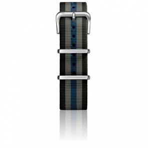 Bracelet Nylon Type Nato 20mm Black/Grey/Navy boucle acier