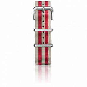Bracelet Nylon Type Nato 20mm Ivory/Red boucle acier