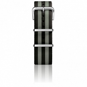 Bracelet Nylon Type Nato 22mm Black/Grey boucle acier