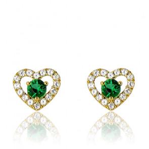 Boucles d'oreilles coeur émeraude, diamants et or jaune 18 carats