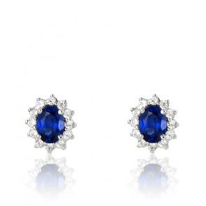 Puces d'oreilles saphir, diamants et or blanc 18 carats