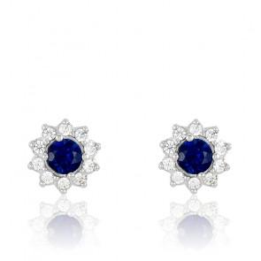 Puces d'oreilles Or Blanc 18K, Saphir & diamants, Fleurettes