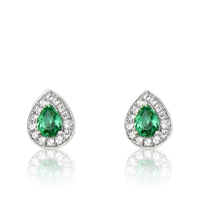 Boucles d'oreilles émeraude et diamants en or blanc 18K