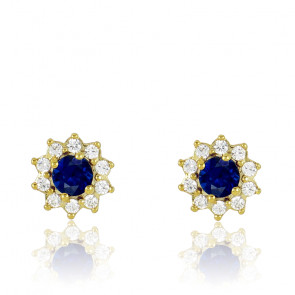 Puces d'oreilles Or Jaune 18K, Saphir & diamants, Fleurettes