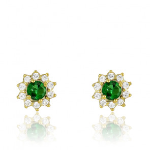 Puces d'oreilles Or Jaune 18K, Emeraude & diamants, Fleurettes