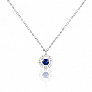 Collier or blanc 18 carats, saphir et pavage de diamants