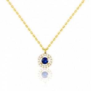 Collier or jaune 18 carats, saphir et pavage de diamants