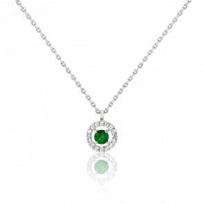 Collier or blanc 18 carats, émeraude et pavage de diamants