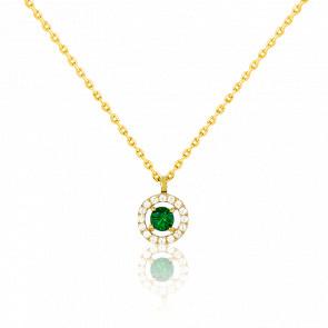 Collier or 18 carats, émeraude et diamants