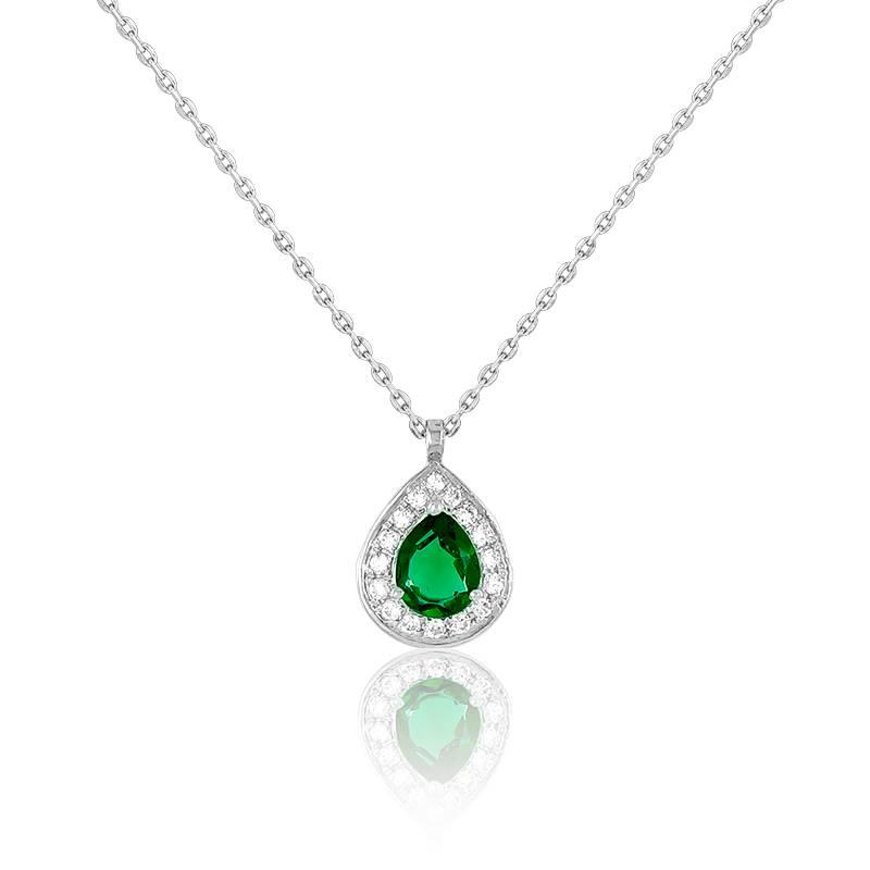 Collier Drop Emeraude, Diamants & Or Blanc