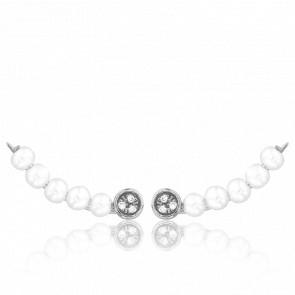 Boucles d'Oreilles Montantes Argent, Perles & Diamants