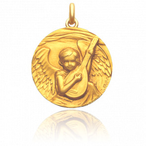 Médaille Ange à la Guitare Or Jaune 18K - Mora