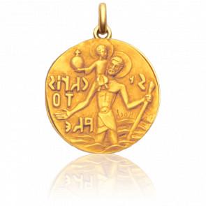 Médaille Saint Christophe de Roch Or Jaune 18K