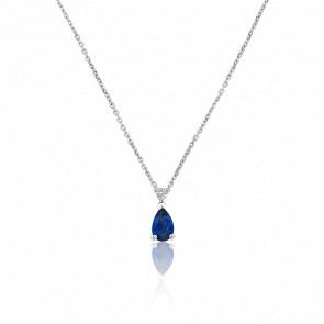 Collier Cassie Or Blanc Diamant & Saphir