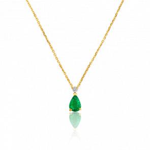 Collier Angie Emeraude, Diamants & Or Jaune 18K