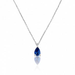Collier Angie Or Blanc Diamant & Saphir