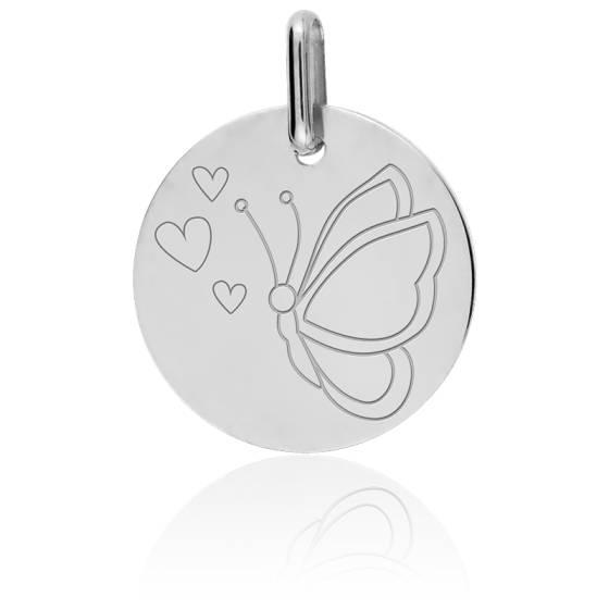 Médaille Papillon Or Blanc 18K