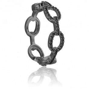 Bague Maillon Or Noir 9K & Diamants Noirs